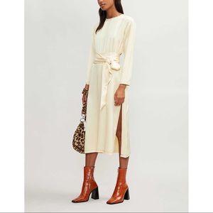 TOPSHOP Satin cream midi dress